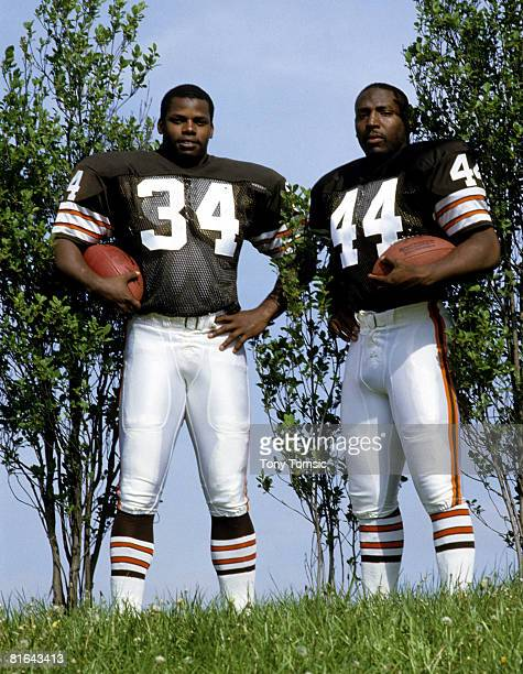Cleveland Browns running backs Kevin Mack and Earnest Byner at training camp in 1985