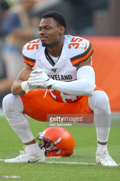 Cleveland Browns safety Jermaine Whitehead on the field prior to the National Football League preseason game between the Washington Redskins and...