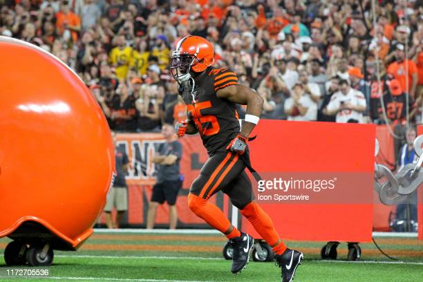 Cleveland Browns safety Jermaine Whitehead takes the field prior to the National Football League game between the Los Angeles Rams and Cleveland...