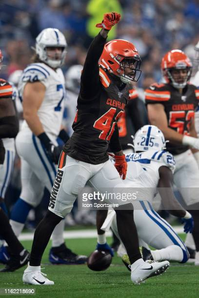 Cleveland Browns safety Morgan Burnett celebrates a stop during the week 2 NFL preseason game between the Cleveland Browns and the Indianapolis Colts...