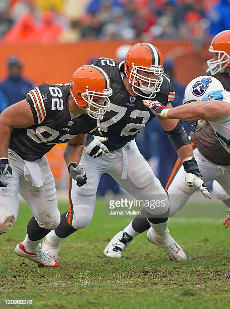 Cleveland Browns Steve Heiden and Ryan Tucker during the game against the Tennessee Titans Sunday November 6 2005 at Cleveland Browns Stadium in...