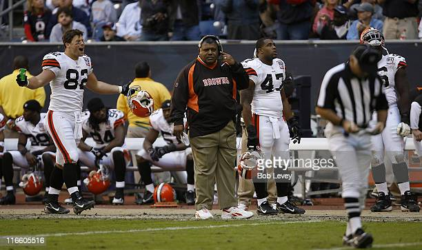 Cleveland Browns tight end Steve Heiden shows his disbelief after a fumble returned for a touchdown by Houston was not overturned on a challenge The...