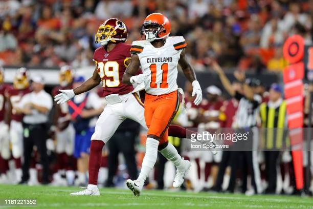 Cleveland Browns wide receiver Antonio Callaway is defended by Washington Redskins cornerback D.J. White during the second quarter of the National...