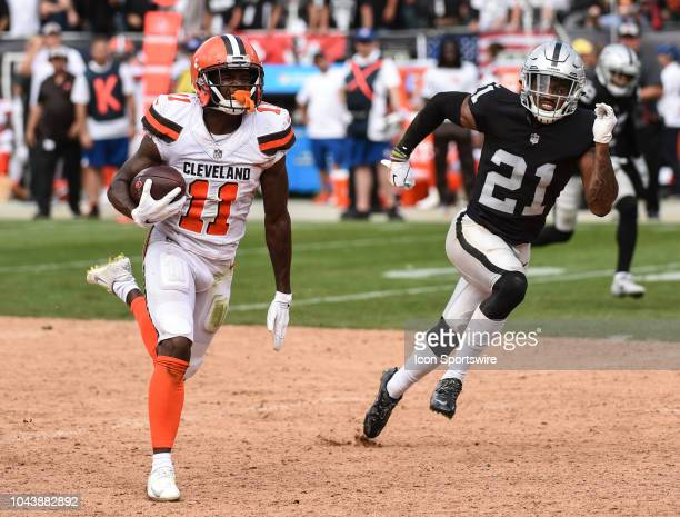 Cleveland Browns Wide Receiver Antonio Callaway outruns Oakland Raiders Cornerback Gareon Conley en route to a big catch and run during the NFL...