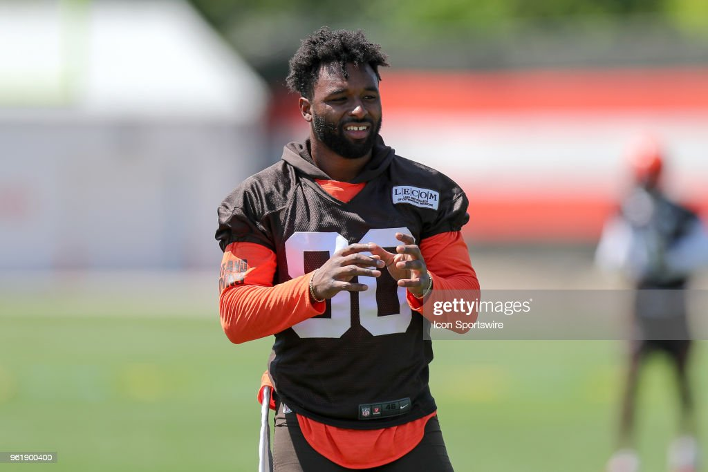 Cleveland Browns wide receiver Jarvis Landry (80) participates in drills during the Cleveland Browns OTA at the Cleveland Browns Training Facility in Berea, Ohio.