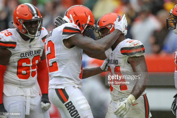 Cleveland Browns wide receiver Josh Gordon and Cleveland Browns running back Carlos Hyde celebrates after Hyde scored a touchdown during the fourth...