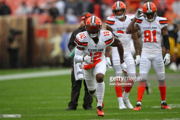 Cleveland Browns wide receiver Josh Gordon on the field for warm ups prior to the National Football League game between the Pittsburgh Steelers and...