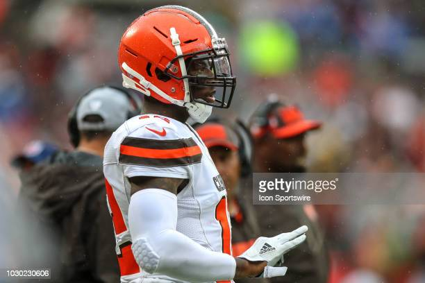 Cleveland Browns wide receiver Josh Gordon on the sideline during the first quarter of the National Football League game between the Pittsburgh...