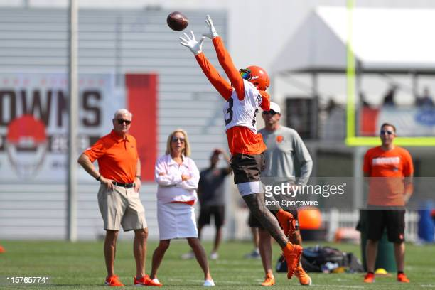 Cleveland Browns wide receiver Odell Beckham Jr makes a catch in front of Cleveland Browns owners Jimmy and Dee Haslam during drills during the...