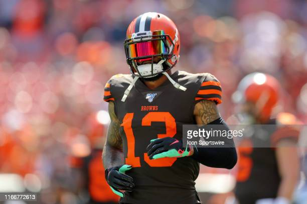 Cleveland Browns wide receiver Odell Beckham Jr on the field prior to the National Football League game between the Tennessee Titans and Cleveland...