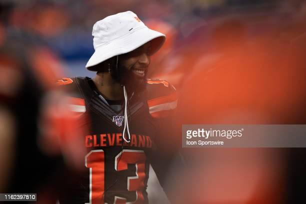Cleveland Browns wide receiver Odell Beckham Jr on the sidelines during the week 2 NFL preseason game between the Cleveland Browns and the...