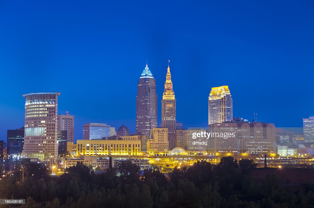 Cleveland Buildings Lit after Nightfall : Stock Photo