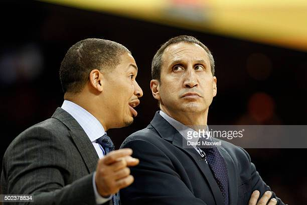 Cleveland Cavaliers Associate Head Coach Tyronn Lue talks with Head Coach David Blatt against the Oklahoma City Thunder during the second half of...