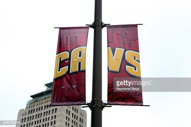 Cleveland Cavaliers banner hangs outside Quicken Loans Arena home of the Cleveland Cavaliers basketball team Cleveland Gladiators arena football team...