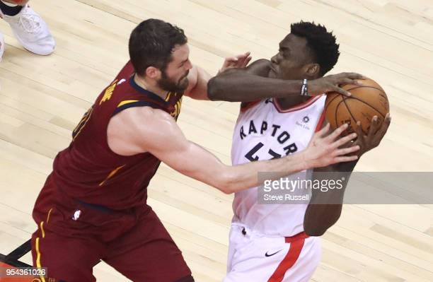 TORONTO ON MAY 3 Cleveland Cavaliers center Kevin Love defends against Toronto Raptors forward Pascal Siakam as the Toronto Raptors play the...