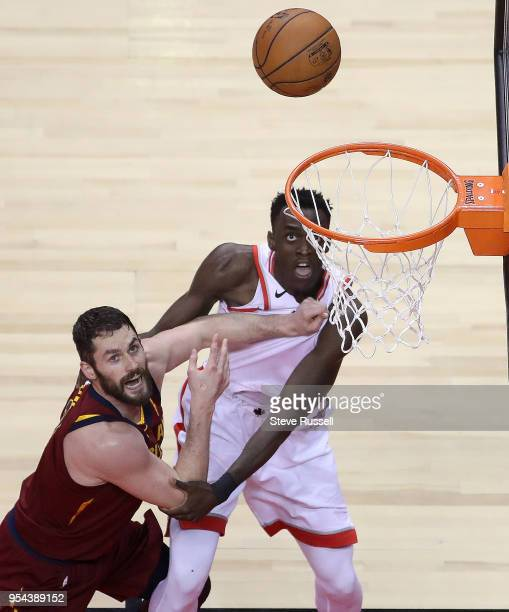 Cleveland Cavaliers center Kevin Love grabs a handful of Toronto Raptors forward Pascal Siakam's jersey as the Toronto Raptors lose game two 128-110...