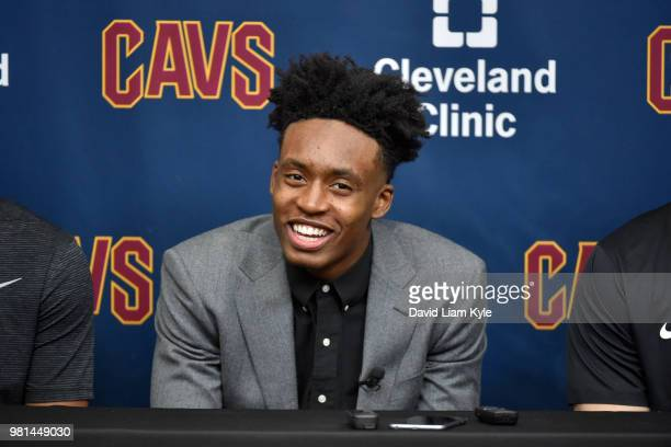 Cleveland Cavaliers draft pick Collin Sexton is introduced during a press conference on June 22 2018 at the Cleveland Clinic Courts in Independence...
