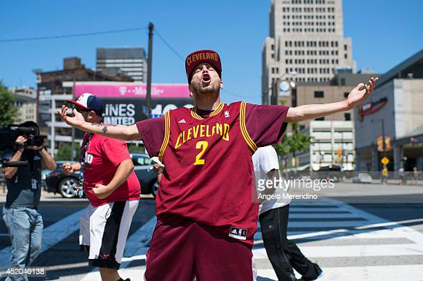 Cleveland Cavaliers fan reacts at the news of LeBron James return to Cleveland on July 11 2014 in Cleveland Ohio