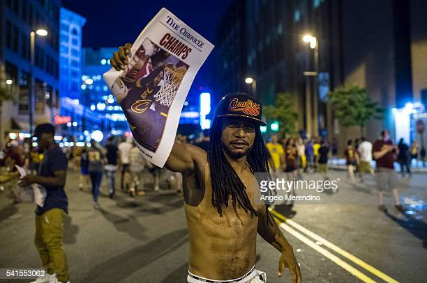 Cleveland Cavaliers fans celebrate in the street after the Cavaliers defeated the Golden State Warriors to win the NBA Championship on June 19 2016...