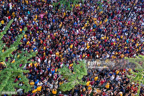 Cleveland Cavaliers fans gather at The Quicken Loans Arena to watch Game 7 of the NBA Finals between the Cleveland Cavaliers and the Golden State...