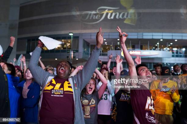 Cleveland Cavaliers fans gather at The Quicken Loans Arena to watch Game 4 of the NBA Finals between the Cleveland Cavaliers and the Golden State...