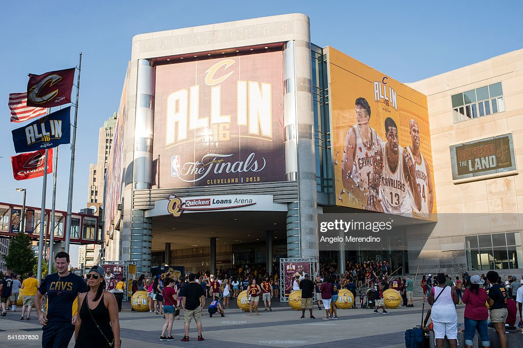 Cleveland Cavaliers fans gather outside of The Quicken Loans