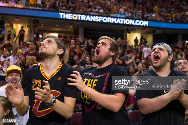 Cleveland Cavaliers fans react as they watch Game 5 of the NBA Finals between the Cleveland Cavaliers and the Golden State Warriors during a watch...