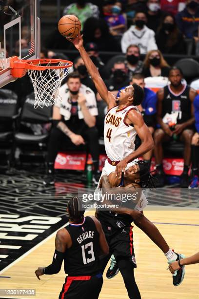 Cleveland Cavaliers Forward Evan Mobley goes up for a rebound during a NBA game between the Cleveland Cavaliers and the Los Angeles Clippers on...