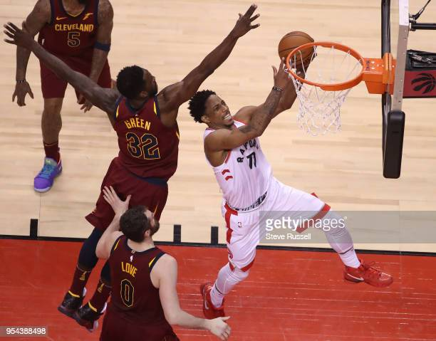 TORONTO ON MAY 3 Cleveland Cavaliers forward Jeff Green defends against Toronto Raptors guard DeMar DeRozan as the Toronto Raptors lose game two...