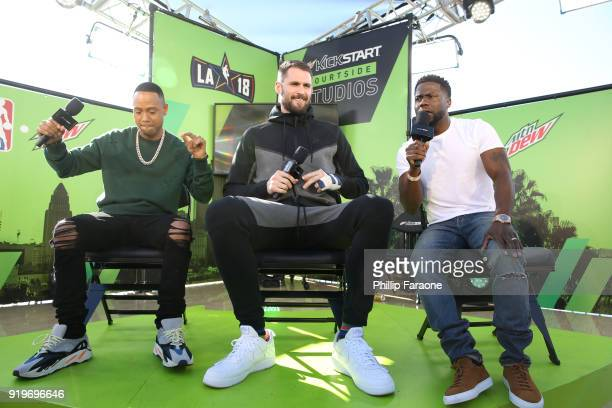 Cleveland Cavaliers forward Kevin Love joins Terrence J and Kevin Hart at Mtn Dew Kickstart Courtside Studios at NBA AllStar 2018 in Los Angeles...
