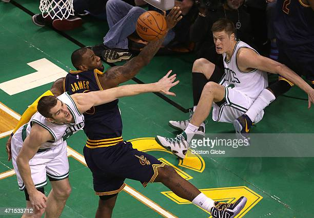 Cleveland Cavaliers forward LeBron James blocked a shot attempt by Boston Celtics forward Jonas Jerebko and then kept the rebound away from Boston...