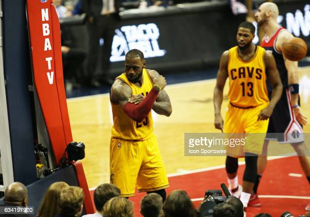 Cleveland Cavaliers forward LeBron James celebrates after making a play during a match between the Cleveland Cavaliers and the Washington Wizards at...