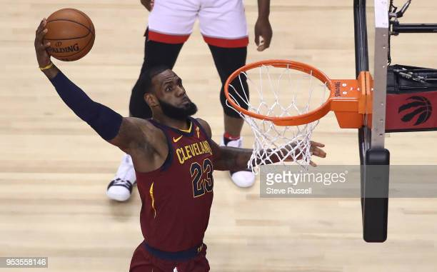 TORONTO ON MAY 1 Cleveland Cavaliers forward LeBron James dunks as the Toronto Raptors play the Cleveland Cavaliers in game 1 of the second round of...