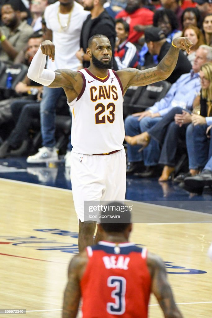 Cleveland Cavaliers forward LeBron James (23) reacts after scoring on a three point shot for one of his game high 57 points against the Washington Wizards on November 3, 2017 at the Capital One Arena in Washington, D.C. The Cleveland Cavaliers defeated the Washington Wizards 130-122.