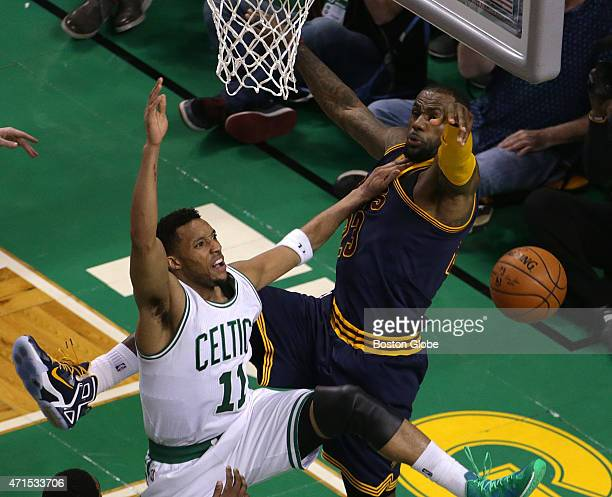 Cleveland Cavaliers forward LeBron James swats away a layup attempt by Boston Celtics guard Evan Turner late in the fourth quarter The Boston Celtics...