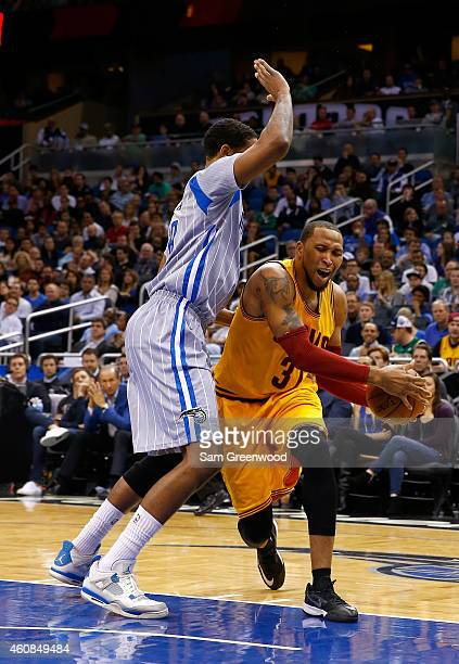 Cleveland Cavaliers forward Shawn Marion drives against Orlando Magic forward Channing Frye during the game at Amway Center on December 26 2014 in...