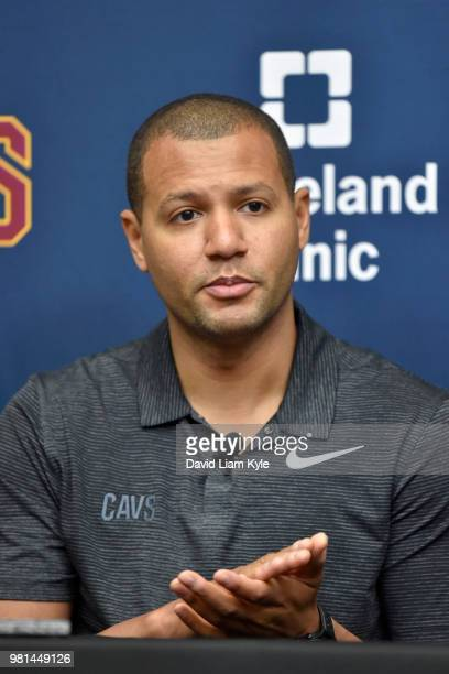 Cleveland Cavaliers General Manager Koby Altman introduces Collin Sexton during a press conference on June 22 2018 at the Cleveland Clinic Courts in...
