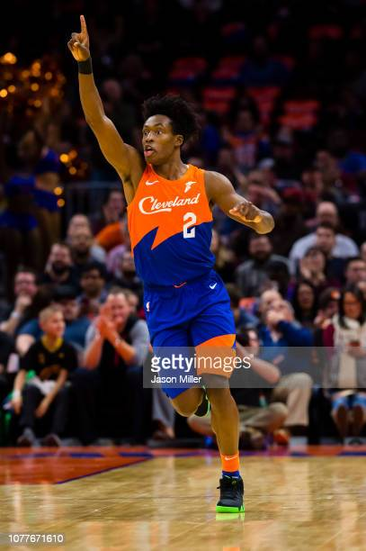Cleveland Cavaliers guard Collin Sexton celebrates after scoring during the first half against the Charlotte Hornets at Quicken Loans Arena on...
