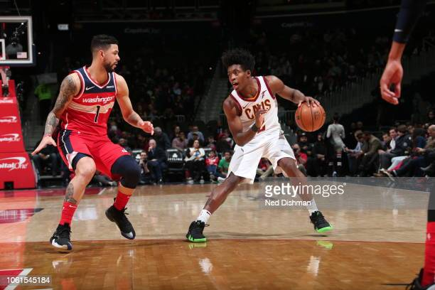 Cleveland Cavaliers guard Collin Sexton handles the ball during the game against the Washington Wizards on November 14 2018 at Capital One Arena in...