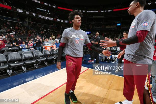 Cleveland Cavaliers guard Collin Sexton makes his entrance before the game against the Washington Wizards on November 14 2018 at Capital One Arena in...