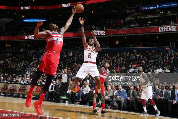 Cleveland Cavaliers guard Collin Sexton shoots the ball during the game against the Washington Wizards on November 14 2018 at Capital One Arena in...