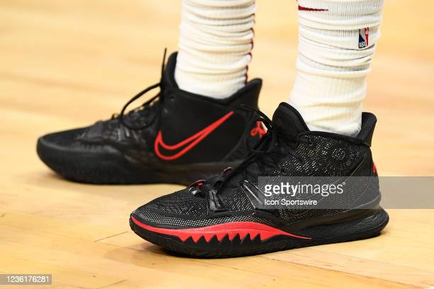 Cleveland Cavaliers Guard Collin Sexton sneakers before a NBA game between the Cleveland Cavaliers and the Los Angeles Clippers on October 27 at...