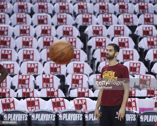 TORONTO ON MAY 1 Cleveland Cavaliers guard Jose Calderon warms up as the Toronto Raptors play the Cleveland Cavaliers in game 1 of the second round...