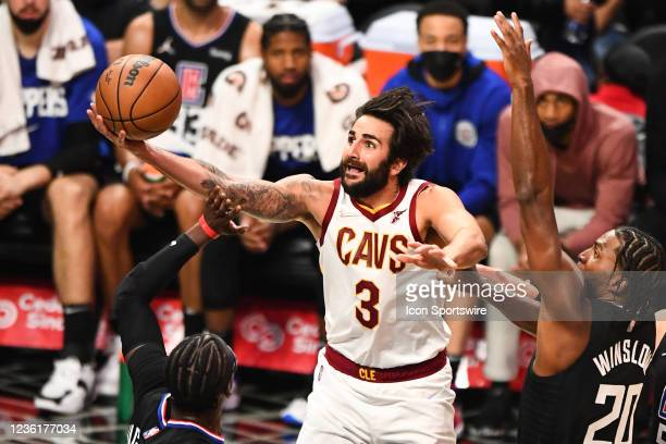 Cleveland Cavaliers Guard Ricky Rubio drives to the basket during a NBA game between the Cleveland Cavaliers and the Los Angeles Clippers on October...