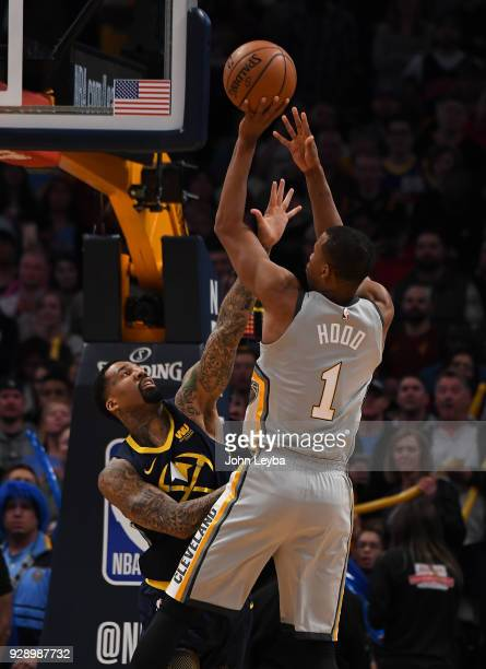 Cleveland Cavaliers guard Rodney Hood tees a shot over Denver Nuggets forward Wilson Chandler during the first quarter on March 7 2018 at Pepsi Center