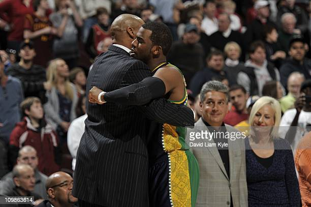 Cleveland Cavaliers head coach Byron Scott hugs New Orleans Hornets point guard Chris Paul during the game on March 6 2011 at The Quicken Loans Arena...