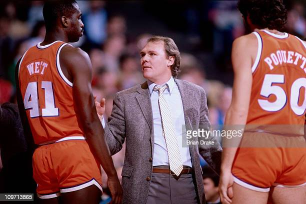 Cleveland Cavaliers head coach George Karl talks to his team during a game against the Portland Trailblazers circa 1985 at the Veterans Memorial...