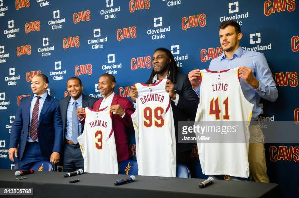 Cleveland Cavaliers head coach Tyronn Lue and general manager Koby Altman introduce Isaiah Thomas Jae Crowder Ante Zizic at Cleveland Clinic Courts...