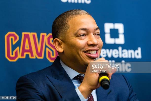 Cleveland Cavaliers head coach Tyronn Lue answers questions during a press conference introducing Isaiah Thomas Jae Crowder Ante Zizic at Cleveland...