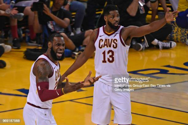 Cleveland Cavaliers' LeBron James and Cleveland Cavaliers' Tristan Thompson argue a call by an official while playing the Golden State Warriors...